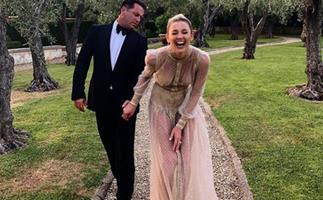 Karl Stefanovic and Jasmine Yarbrough are all loved up at friend's Italian wedding