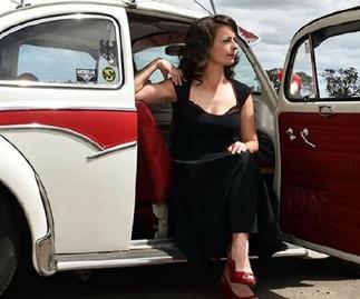 Joanne Finch sitting in car