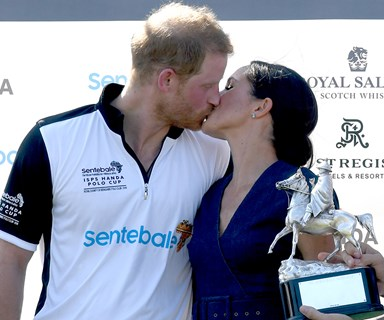 Flirting on the field: Duchess Meghan and Prince Harry aren't the first royals to share a kiss at the polo