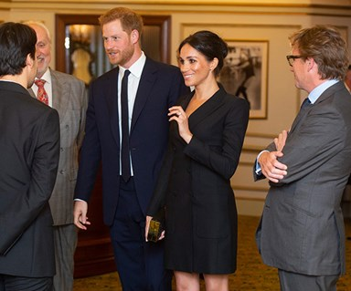 Duchess Meghan brings Markle glamour with a tuxedo dress for Hamilton with Prince Harry