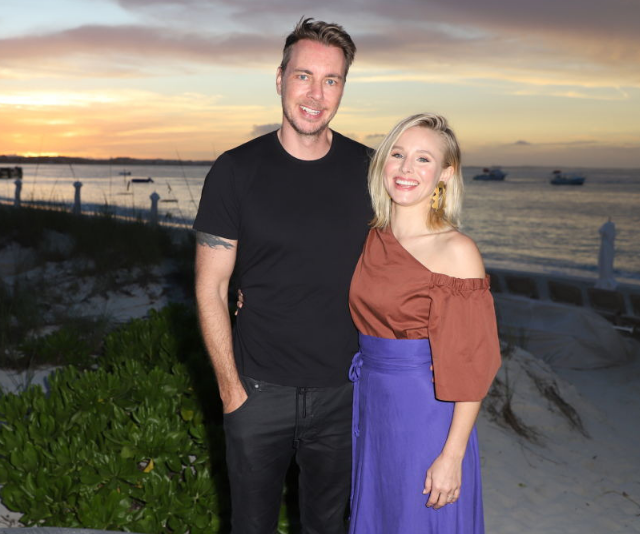 Dax Shepard and Kristen Bell sunset image at beach resort