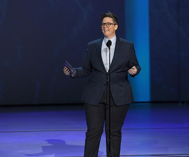 Hannah Gadsby showcases her trademark dark humour at the 2018 Emmy Awards