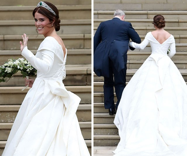 The beautiful wedding dress and tiara Princess Eugenie wore for her royal wedding