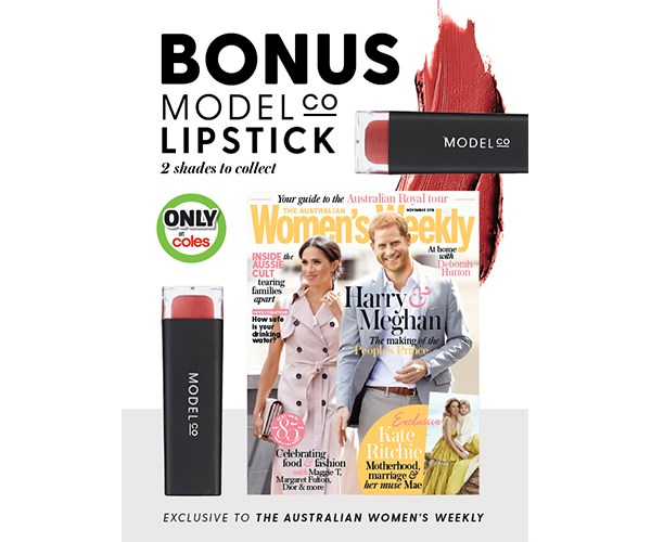 Pick up a bonus ModelCo lipstick with The Australian Women's Weekly only at Coles