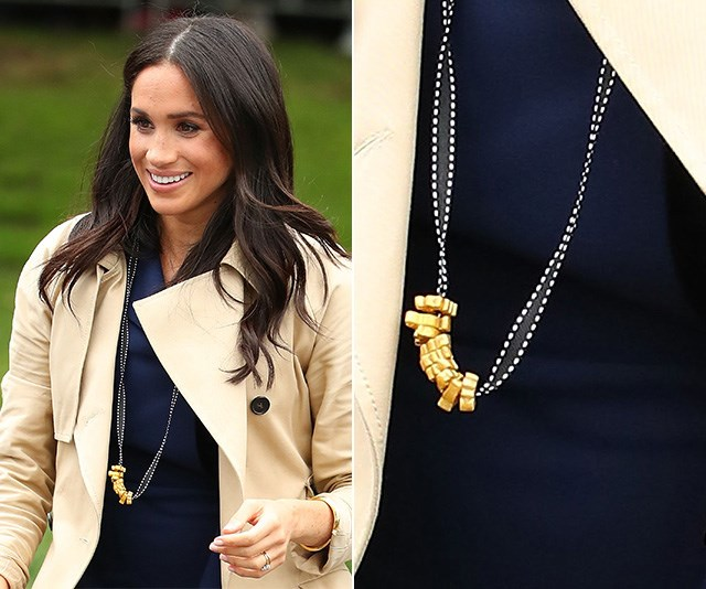Duchess Meghan wore a pasta necklace gifted by a young fan and our hearts have exploded