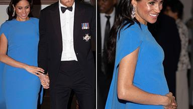 Duchess Meghan shows off her growing baby bump at her first state dinner in Fiji
