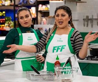 Family Food Fight's Alatini family don't enjoy the Samadi sisters' gameplay