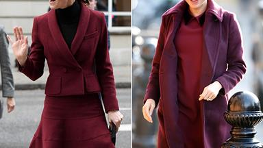 Burgundy is the new black! Duchess Meghan and Duchess Catherine step out for royal visits in stunning red outfits