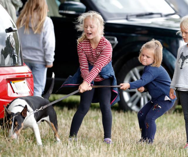 Savannah Phillips, Mia Tindall and Isla Phillips struggle to control their grandmother's (Princess Anne, Princess Royal) bull terrier dog