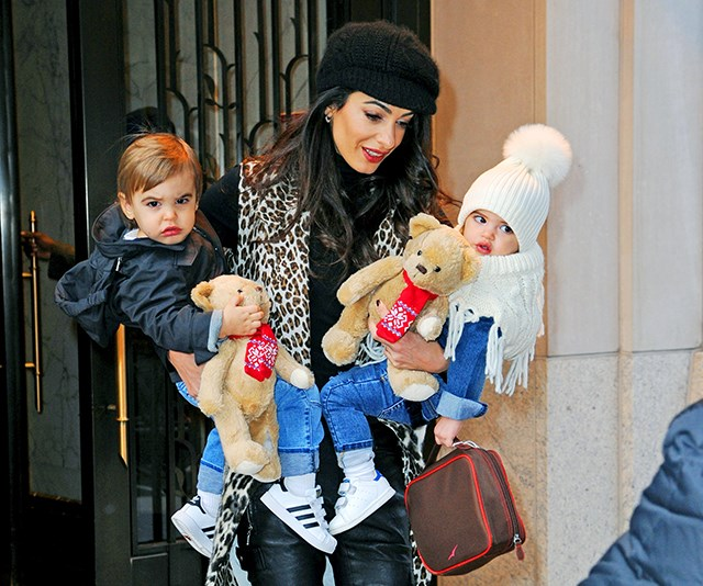 Amal Clooney steps out with twins Ella and Alexander, and they're George's mini-mes!