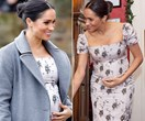 Duchess Meghan's burgeoning baby bump is on full display as she steps out in fitted floral dress