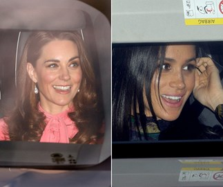 Meghan, Harry, Kate and Wills make their grand entrance to the Queen's pre-Christmas lunch