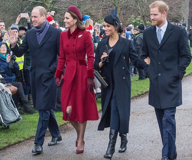 "The ""Fab Four"" attend the Christmas Day church service at Sandringham. *(Source: Getty)*"