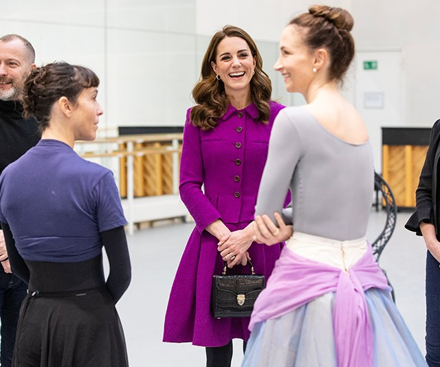 Duchess Catherine is pretty in purple as she visits ballet dancers at the Royal Opera House