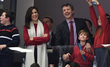 Crown Princess Mary and her family cheer on the Danish handball team