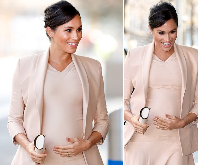 Duchess Meghan's baby bump is on full display as she steps out in beige ensemble