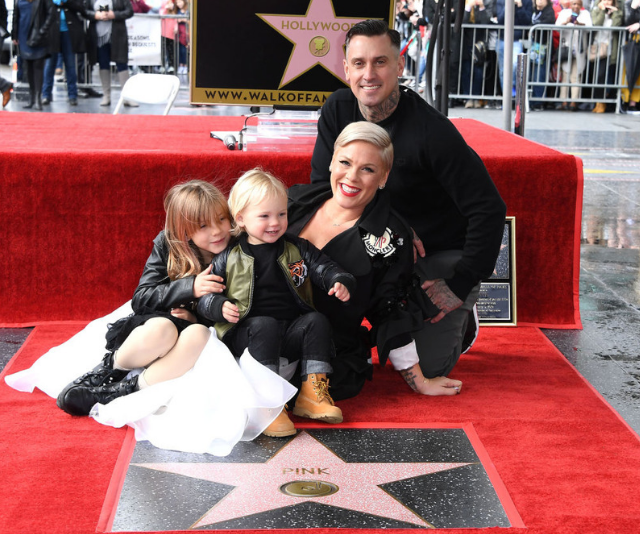Pink accepts her Hollywood Walk of Fame Star with her family by her side