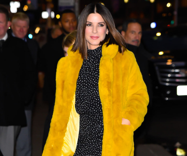 Sandra Bullock yellow fur coat