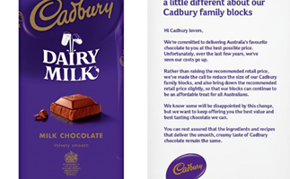 Cadbury shrinks family-size chocolate blocks again and consumers are outraged