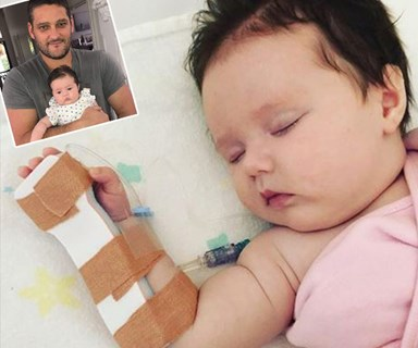Brendan Fevola's two-month-old daughter Tobi has been hospitalised