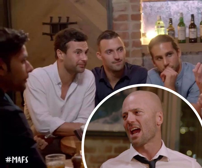 MAFS: Mike goes full 'Mike' on boys' night and teases Dino about his sex life