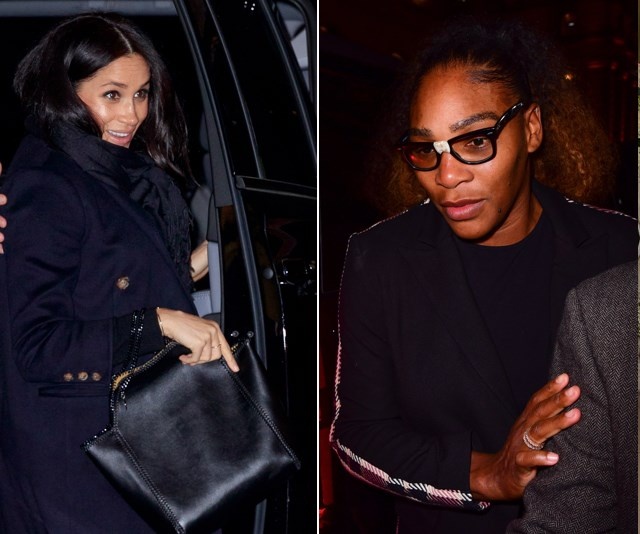 Meghan and Serena took a girl's night out, during Meghan's whirlwind trip to New York in February to celebrate the upcoming arrival of her first child. *(Images: Getty)*