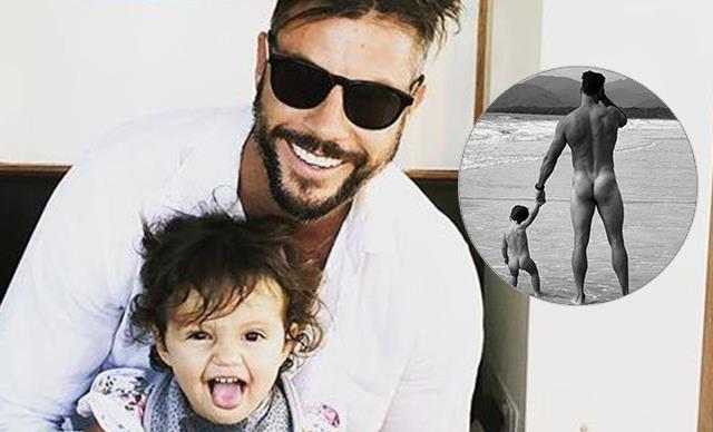 Sam Wood's cheeky photo with his young daughter has divided the internet