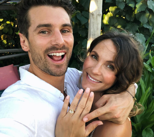 Bringing the bling! Laura showed off her new engagement sparkler on Sunday. *(Image: @ladyandacat/ Instagram)*