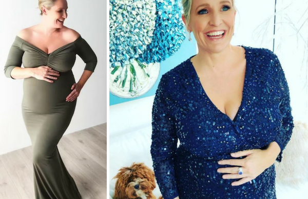 A glowing Fifi Box dazzles in glamorous maternity shoot