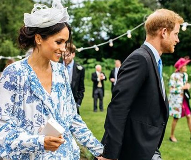 NEW: Unseen photo of Meghan and Harry at a friend's wedding emerges - see her stunning dress!