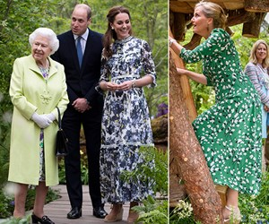Royals like we've never seen them! The Queen and Sophie of Wessex visit Kate's Chelsea Flower Show Garden - watch them explore