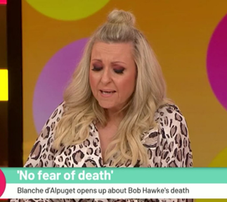 Angela Bishop breaks down talking about her late husband on Studio 10