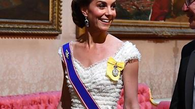 Duchess Catherine looks gorgeous wearing her favourite tiara to the Queen's State Banquet for Donald Trump