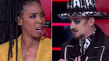 Boy George and Kelly Rowland's fight on The Voice was so wild that Delta Goodrem had to step in