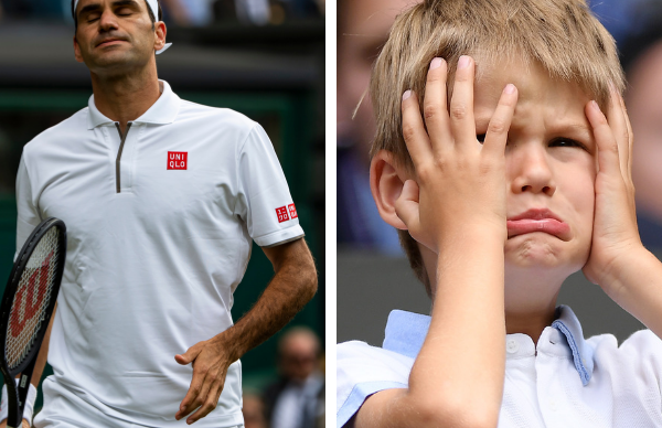 Roger Federer's adorable son puts on a cheeky display during his Dad's stressful Wimbledon match