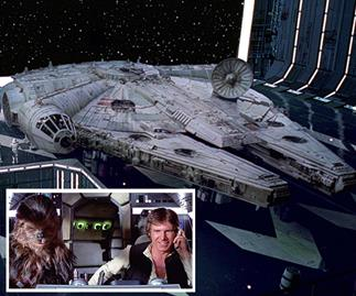 Millennium Falcon, Han Solo and Chewbacca.