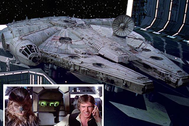 Millennium Falcon, Han Solo and Chewbacca.