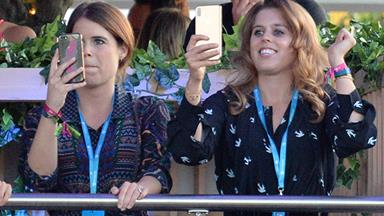 Princess Beatrice and Eugenie bring out their dance moves during Celine Dion concert - see the pics