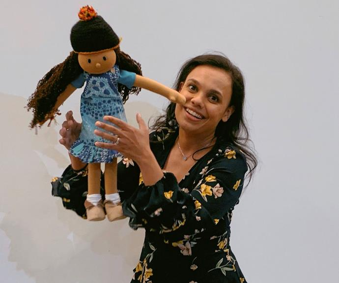 Miranda Tapsell introduces Kiya as the latest Play School toy in a special NAIDOC Week episode