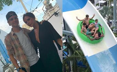 The Beckham family are joined by Eva Longoria on their latest Miami holiday
