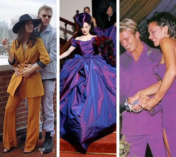15 stunning celebrity brides who didn't wear white on their wedding days
