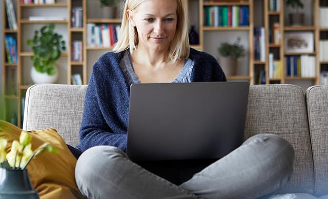 Blonde woman on laptop