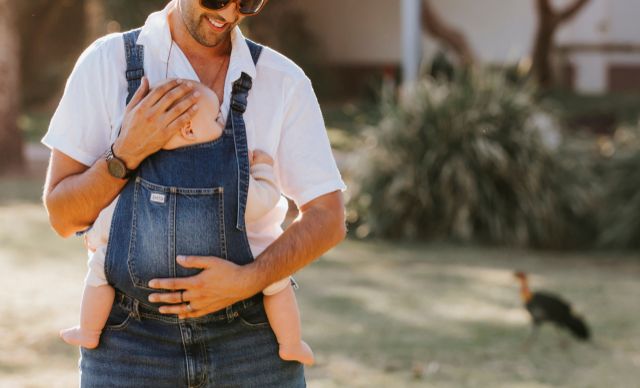 Baby-wearing dungarees for dads are here and we're not mad about it