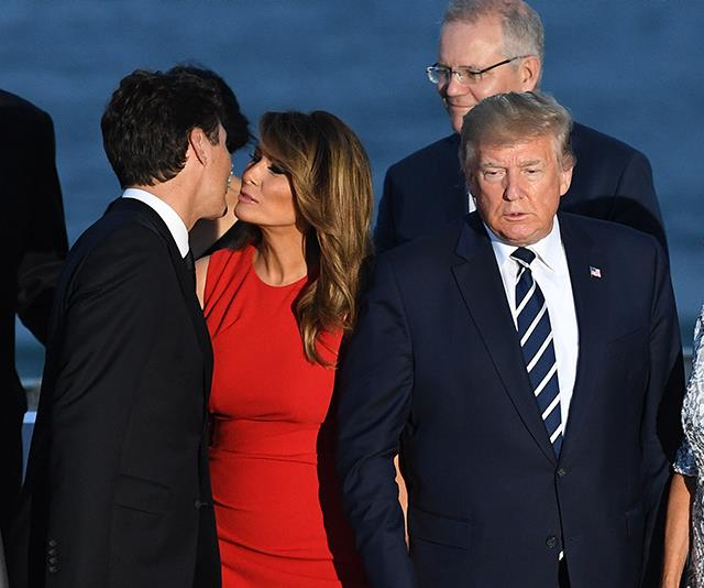 Twitter is losing it over this trending picture of Melania Trump and Justin Trudeau