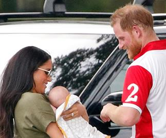 """Meghan and Harry spotted at a local pub in Windsor with baby Archie, and he was """"good as gold"""""""