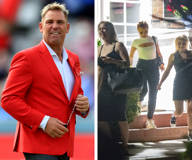 IN PICS: The three women snapped leaving Shane Warne's home after noisy sex romp