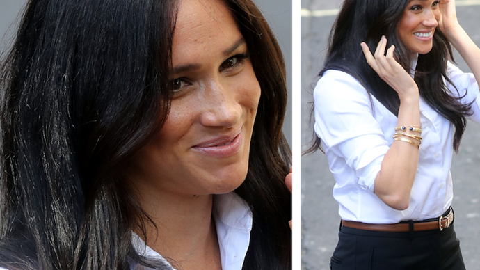 A grand return! Duchess Meghan dazzles in her OWN designs for first post-maternity leave appearance