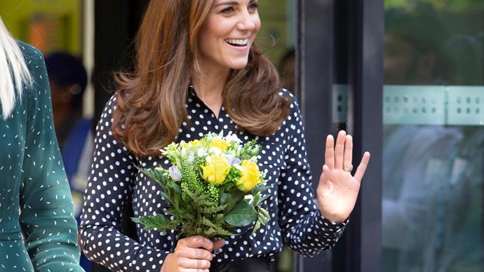 Duchess Catherine gushes about Prince George as she glows in chic polka-dot top