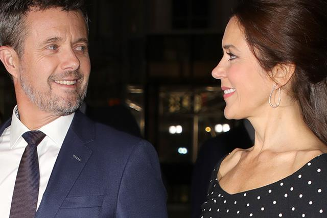 Oh là là! Crown Prince Frederik can't take his eyes off Princess Mary as she steps out in a stunning polka dot ensemble