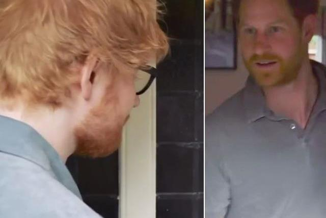 Prince Harry welcomes Ed Sheeran into Princess Eugenie's home in newly released video... yes, you read that correctly